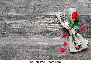 Valentines day table place setting Holidays background