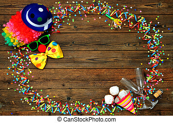 Colorful carnival background with clown face design