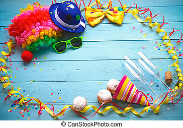 Colorful carnival background with party accessory,...
