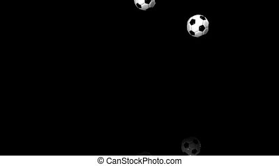 Soccer Balls - Bouncing Soccer Balls On Black Background