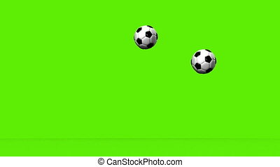 Soccer Balls - Bouncing Soccer Balls On Green Background