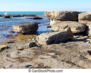 Rocky shore of Caspian Sea - Rocky shore of the Caspian Sea....