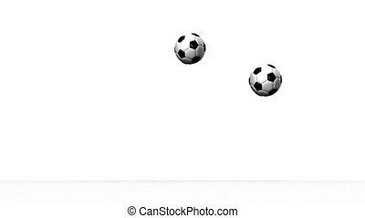 Soccer Balls - Bouncing Soccer Balls On White Background