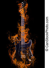 Burning Electric Guitar