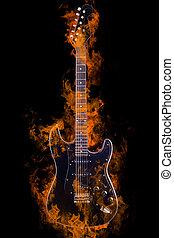 abrasador, eléctrico, guitarra