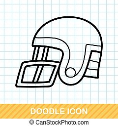 fútbol, casco, garabato,
