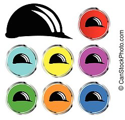 Hard Hat Icons - A collection of coloured builders hard hat...