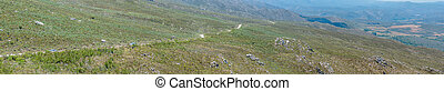View from the Swartberg Pass towards the Cango Caves - View...