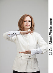 Woman holding something in hands