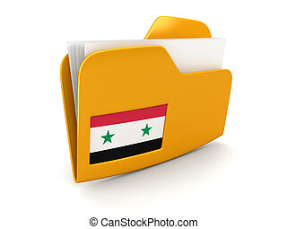 folder and lists with Syrian Flag Image with clipping path