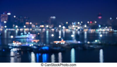 Blurred cityscape lights bokeh - Blurred city skyline lights...