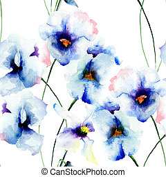 Seamless wallpaper with Blue pansy flowers