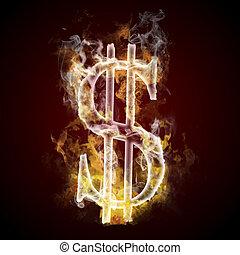 Dollar symbol burning, fire