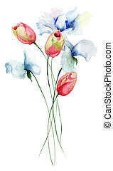 Tulips and Sweet pea flowers, watercolor illustration