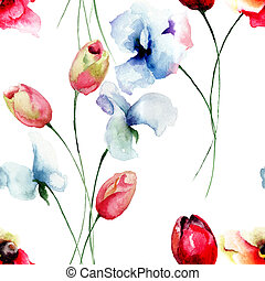 Seamless pattern with Tulips, Poppy and Sweet pea flowers,...