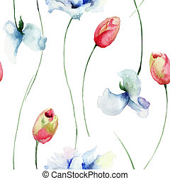 Seamless pattern with Tulips and Sweet pea flowers,...