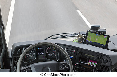View from above on dashboard of the truck - View from above...