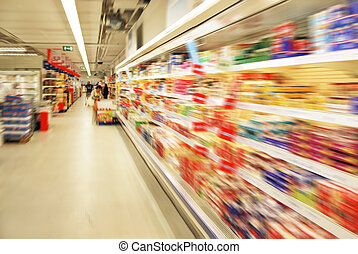 shopping people - blurred shopping people in a supermarket...