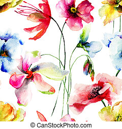 Seamless wallpaper with Original flowers watercolor...