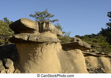 Drome landscape of sand rocks in France - Drome landscape of...