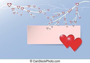 Two red hearts on trendy blue backg