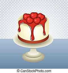 Cherry cheesecake background - Scalable vectorial image...