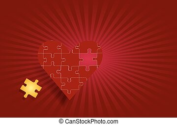 Puzzle red heart love concept