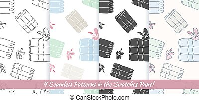 Seamless patterns with Thai massage, spa elements -...