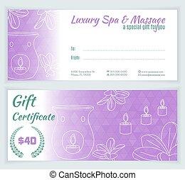Spa, massage gift certificate template - Spa massage gift...