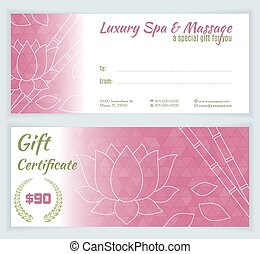 Spa, massage gift certificate template with hand drawn lotus...