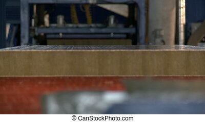 View of sandwich panel moves at camera, close-up