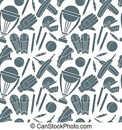 Seamless pattern with h cricket game elements - Seamless...