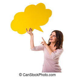Bubble for text - Young beautiful girl holding a yellow...