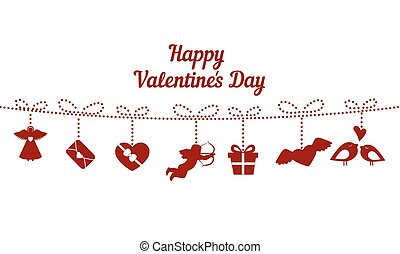 Happy Valentines Day Card. - Red love icons on white...