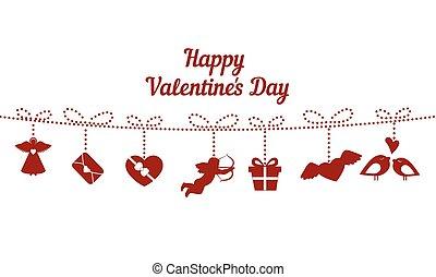 Felice, valentines, giorno, Card.,