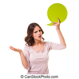 Bubble for text - Young beautiful girl holding a green...