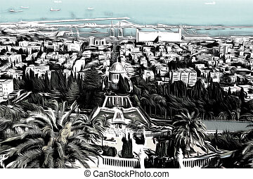 Haifa - View of Haifa from the Bahai garden drawing filter