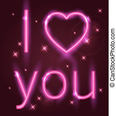 Pink shining neon sign - Valentine greeting card with pink...