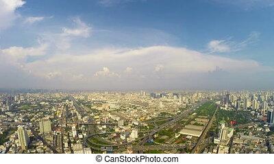 Birds eye view of Bangkok city time lapse loop