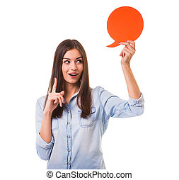Bubble for text - Young beautiful girl holding a red bubble...