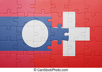 puzzle with the national flag of switzerland and laos