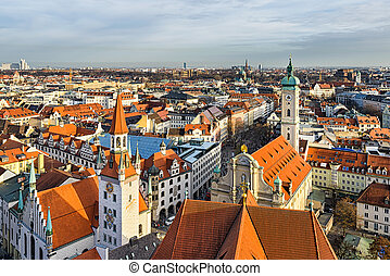 Aerial panorama of Munich, Germany