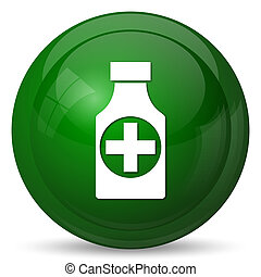 Pills bottle icon Internet button on white background