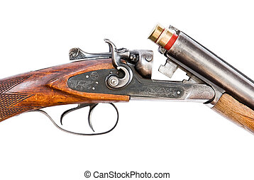 Hunting rifle on white background - Mechanism of retro...