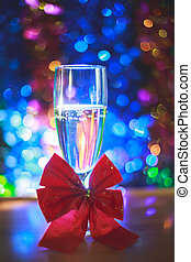coup with champagne - coup with red ribbon