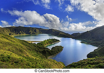 Lagoa do Fogo and green valley on San Miguel island of...