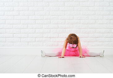 little girl dancer ballet ballerina stretching
