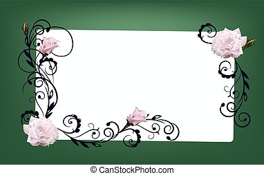 flower frame green with rose