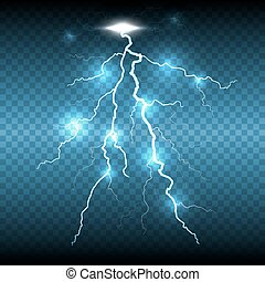 Lightning flash strike, transparent background