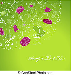 Purple green illustration with flowers.
